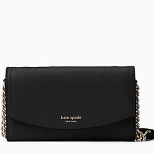 New Kate Spade Eva Wallet on Chain Black/G…